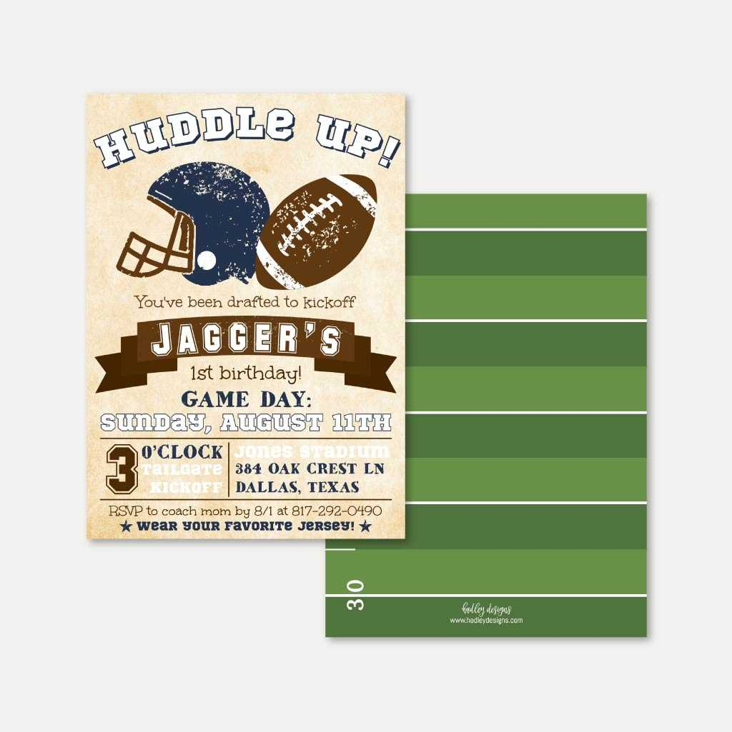 Vintage Football Kids Party Invitation Printable Template