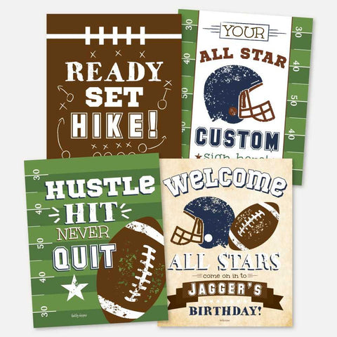 Vintage Football Kids Party Sign Set Printable Template