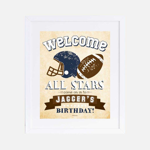 Vintage Football Kids Party Welcome Sign Printable Template