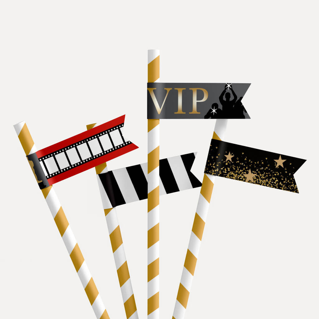 VIP Kids Party Straw Flag Printable Template