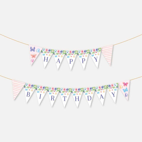 Butterfly Kids Party Banner Printable Template