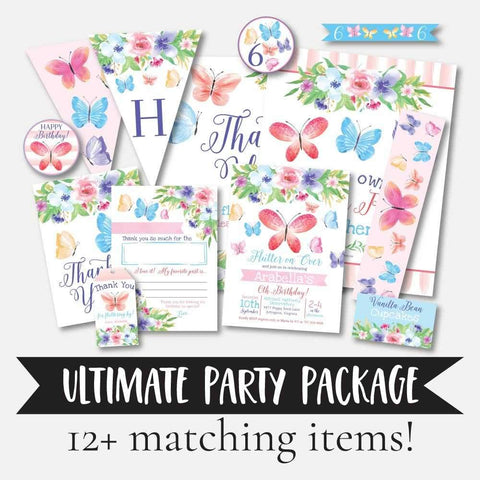 Butterfly Kids Party Complete Package Set Printable Template