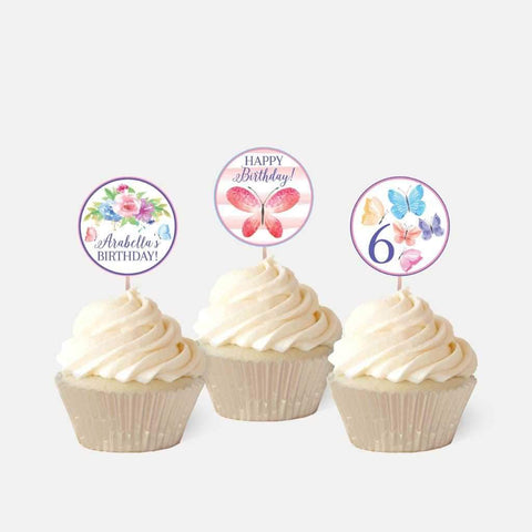 Butterfly Kids Party Cupcake Topper Printable Template
