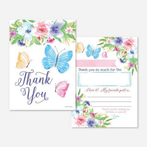 Butterfly Kids Party Thank You Card Printable Template