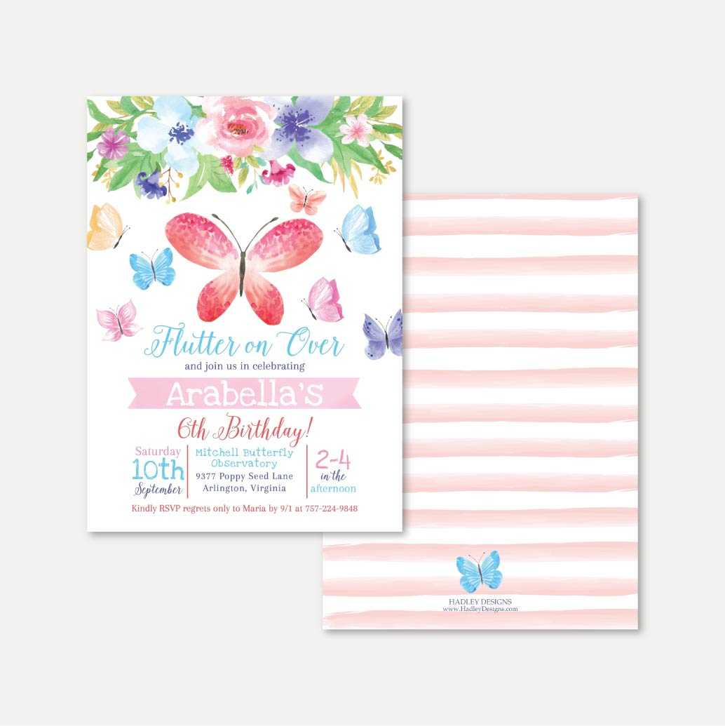 Butterfly Kids Party Invitation Printable Template