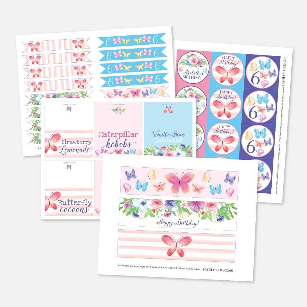 Butterfly Kids Party Accessories and Decor Printable Template