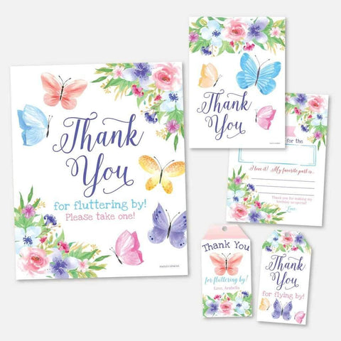 Butterfly Kids Party Thank You Package Set Printable Template