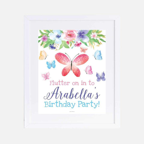 Butterfly Kids Party Welcome Sign Printable Template