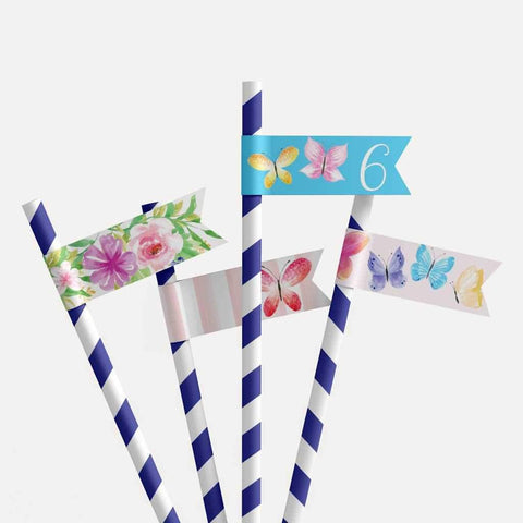 Butterfly Kids Party Straw Flag Printable Template