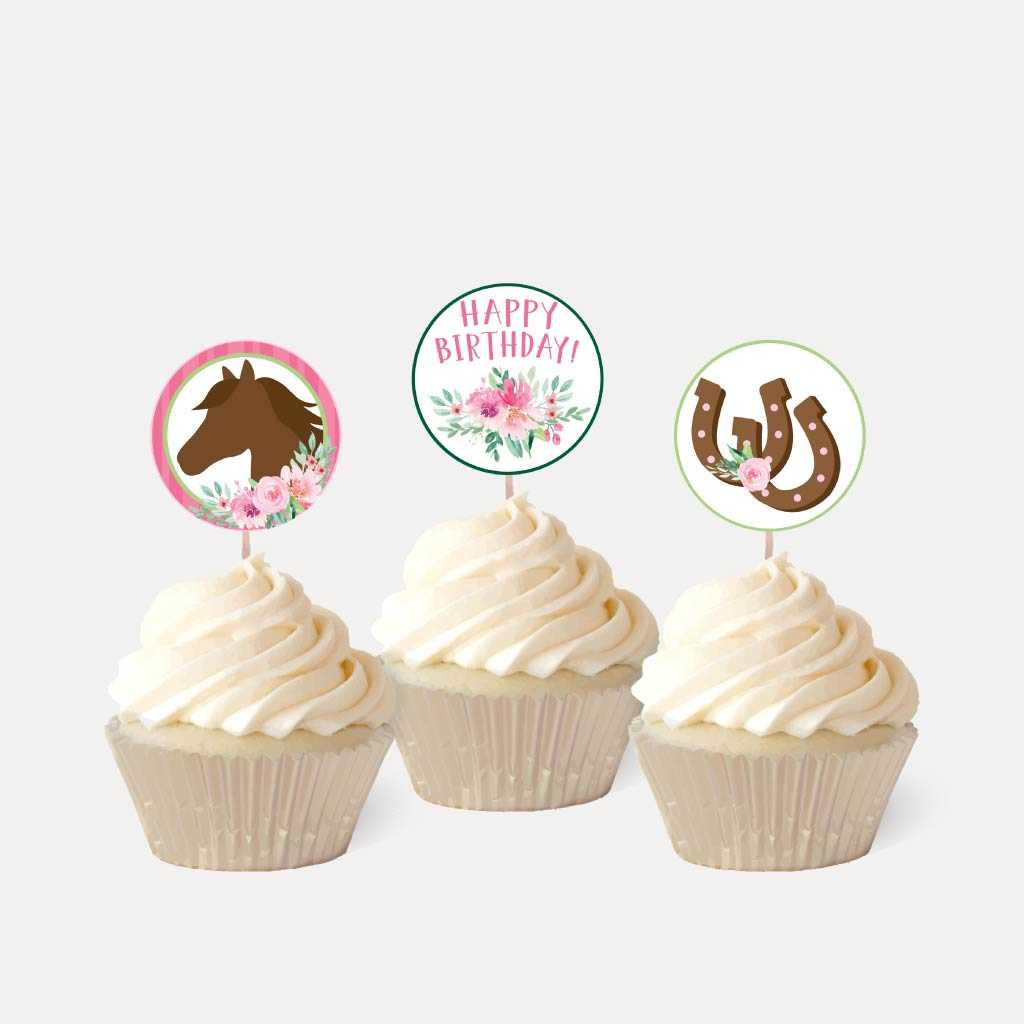 Watercolor Floral Horse Kids Party Cupcake Topper Printable Template