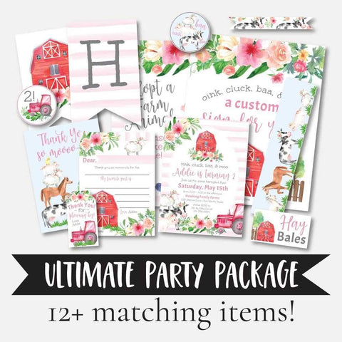 Watercolor Girl Farm Kids Party Complete Package Set Printable Template