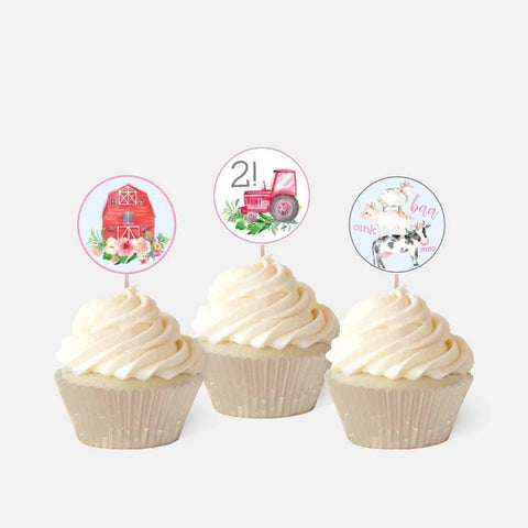 Watercolor Girl Farm Kids Party Cupcake Topper Printable Template