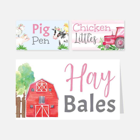 Watercolor Girl Farm Kids Party Food Tent Cards Printable Template