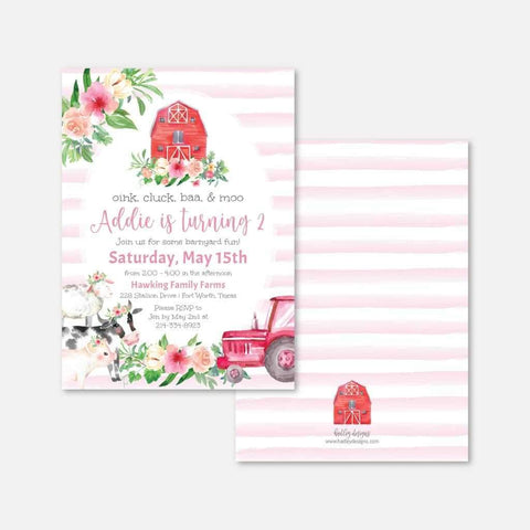 Watercolor Girl Farm Kids Party Invitation Printable Template
