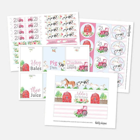 Watercolor Girl Farm Kids Party Accessories and Decor Printable Template