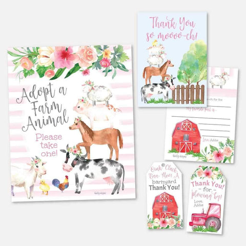 Watercolor Girl Farm Kids Party Thank You Package Set Printable Template