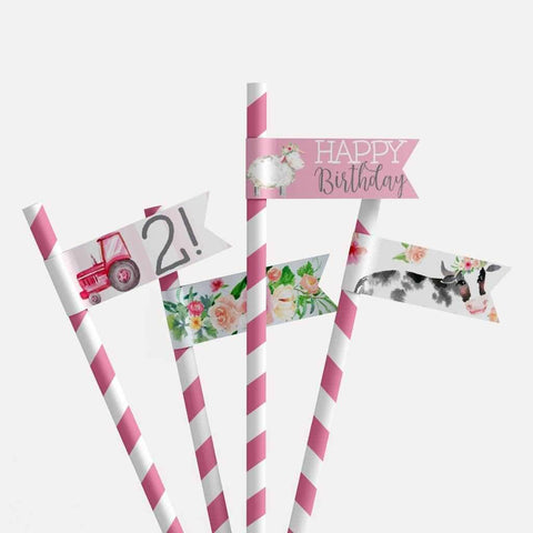 Watercolor Girl Farm Kids Party Straw Flag Printable Template