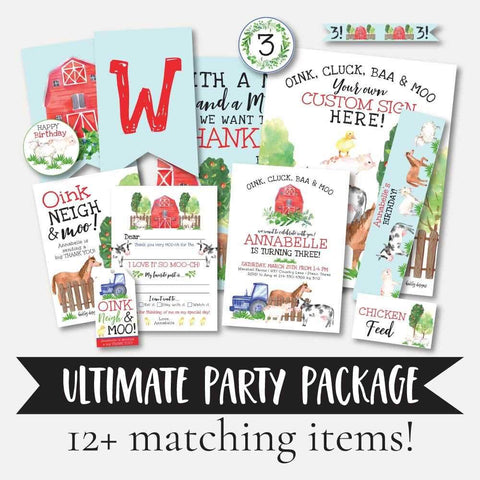 Watercolor Neutral Farm Kids Party Complete Package Set Printable Template