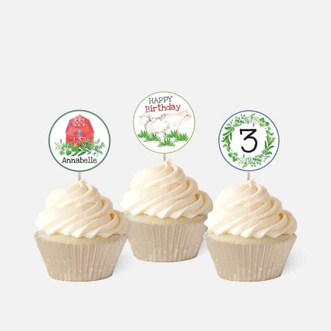 Watercolor Neutral Farm Kids Party Cupcake Topper Printable Template