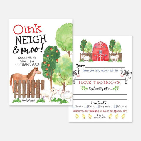 Watercolor Neutral Farm Kids Party Thank You Card Printable Template