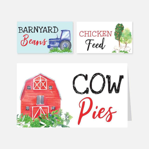 Watercolor Neutral Farm Kids Party Food Tent Cards Printable Template