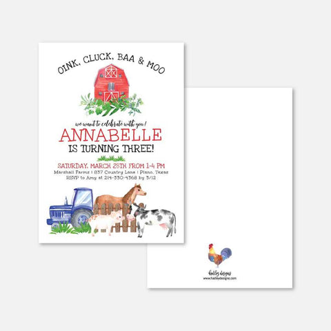 Watercolor Neutral Farm Kids Party Invitation Printable Template