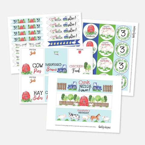 Watercolor Neutral Farm Kids Party Accessories and Decor Printable Template