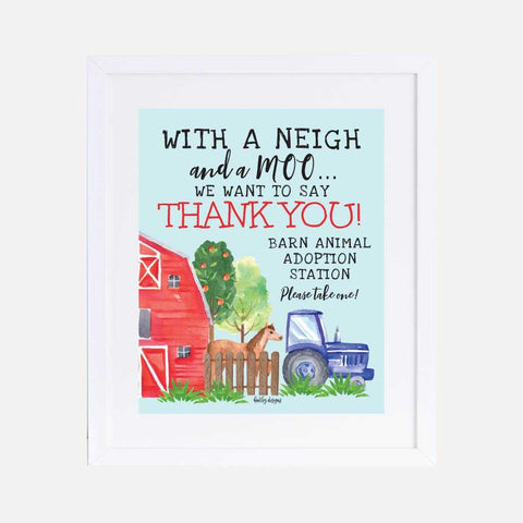 Watercolor Neutral Farm Kids Party Favors Sign Printable Template