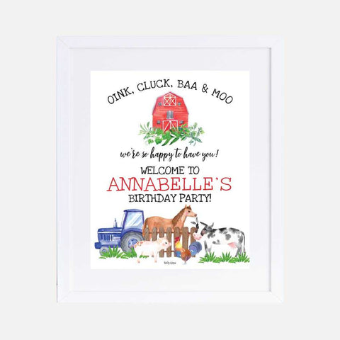 Watercolor Neutral Farm Kids Party Welcome Sign Printable Template
