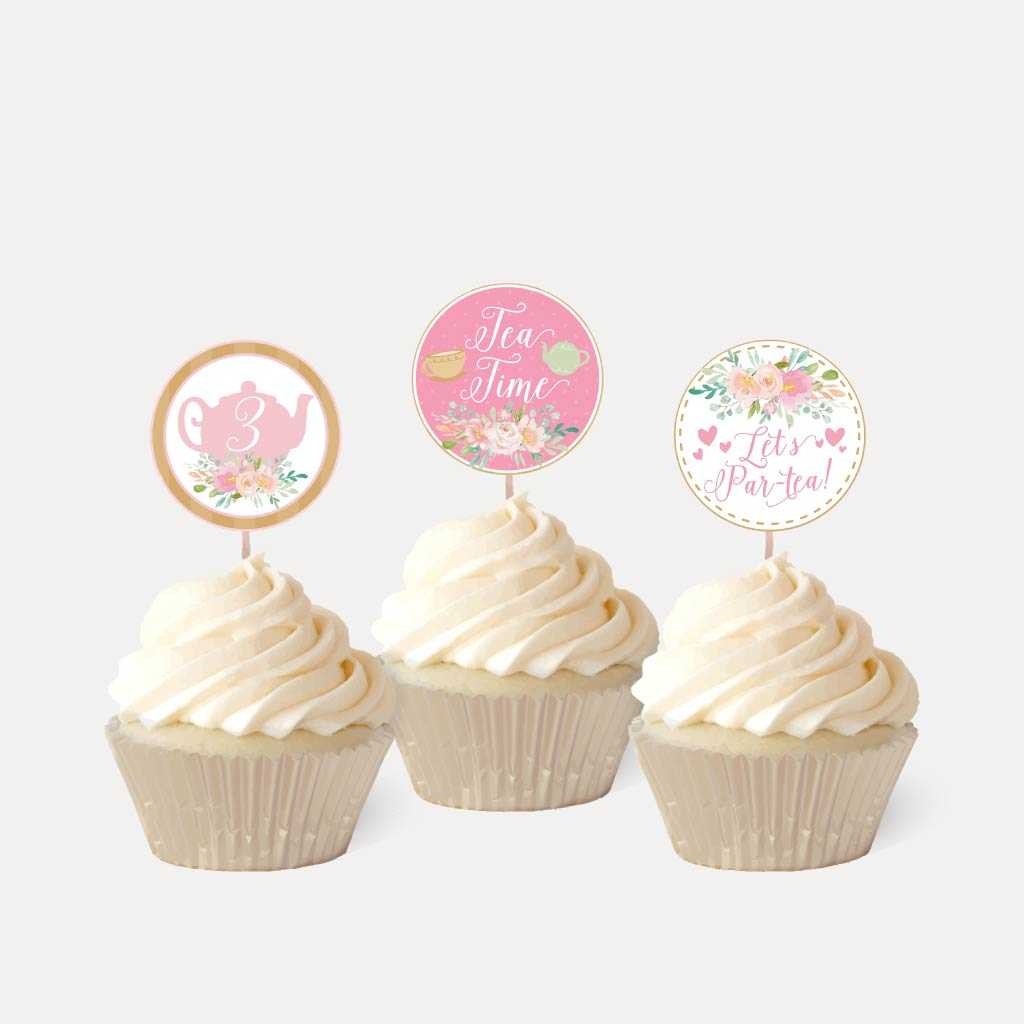 Watercolor Tea Kids Party Cupcake Topper Printable Template