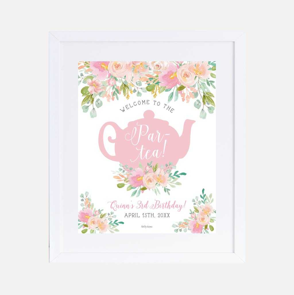 Watercolor Tea Kids Party Welcome Sign Printable Template