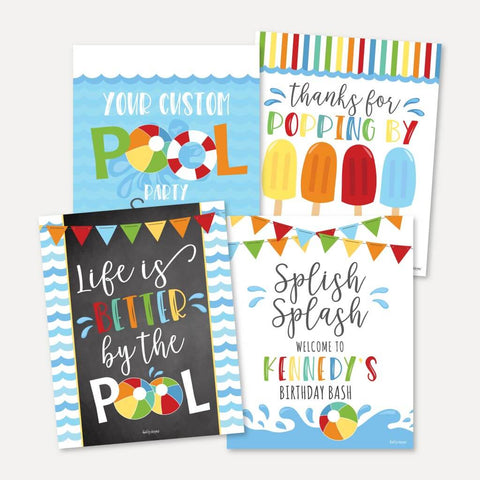 Waves Pool Kids Party Sign Set Printable Template