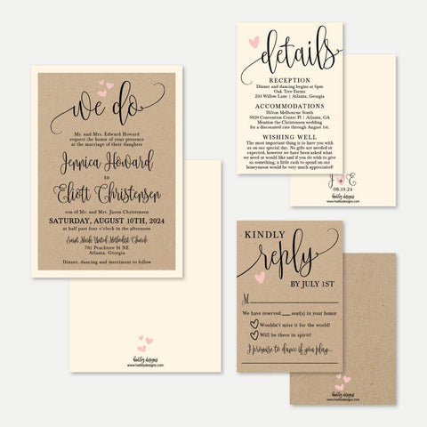 We Do Kraft Wedding Invitation Suite Printable Template