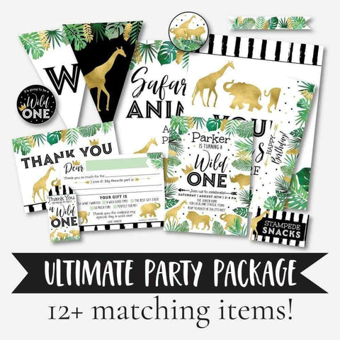 Wild One Safari Kids Party Complete Package Set Printable Template