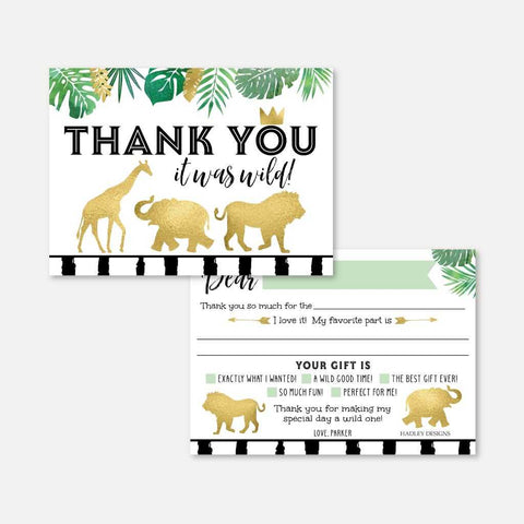 Wild One Safari Kids Party Thank You Card Printable Template