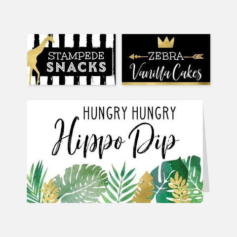 Wild One Safari Kids Party Food Tent Cards Printable Template
