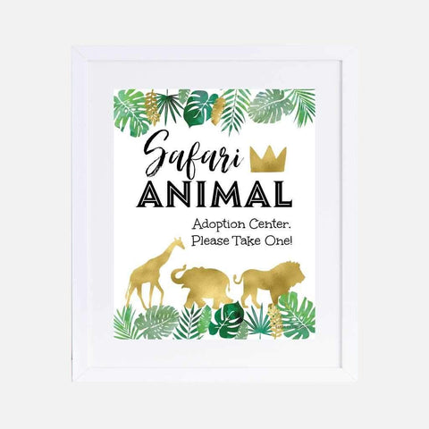 Wild One Safari Kids Party Favors Sign Printable Template