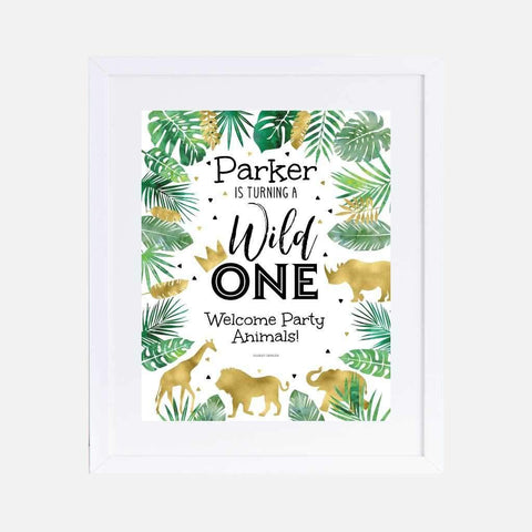Wild One Safari Kids Party Welcome Sign Printable Template