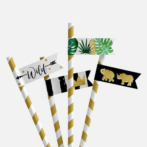 Wild One Safari Kids Party Straw Flag Printable Template
