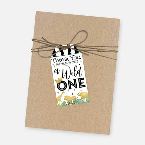 Wild One Safari Kids Party Thank You Favor Tags Printable Template