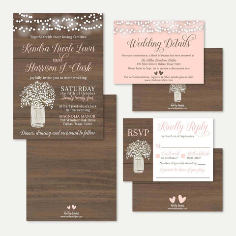 Wood Rustic Babys Breath Wedding Invitation Suite Printable Template