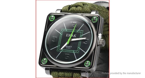EMAK Multifunctional Outdoors Survival Bracelet Wrist Watch