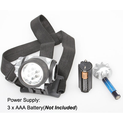 7-LED Adjustable Head Lamp with Pivoting Light Head - Super Bright and Waterproof
