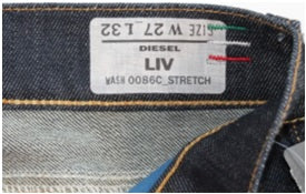 What are the Wash numbers on Diesel Jeans for? example1