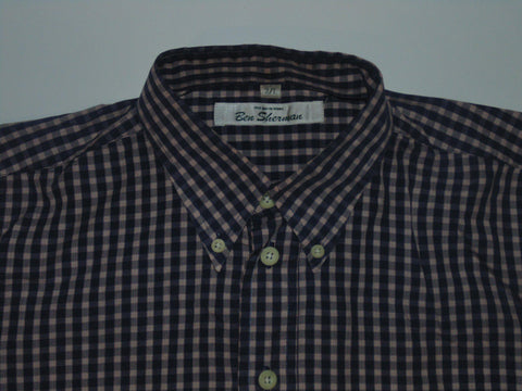 Ben Sherman red & blue checks shirt - Large mens, size 3 - S5579-Classic Clothing Crib