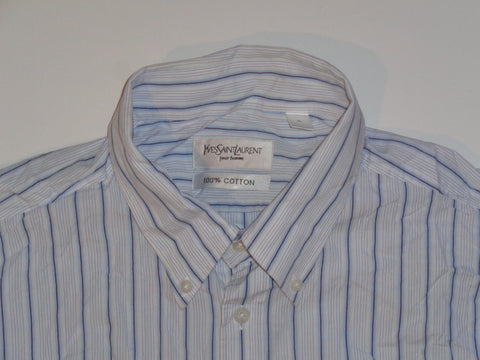 YSL Yves Saint Laurent blue stripes shirt - xl mens - S5473