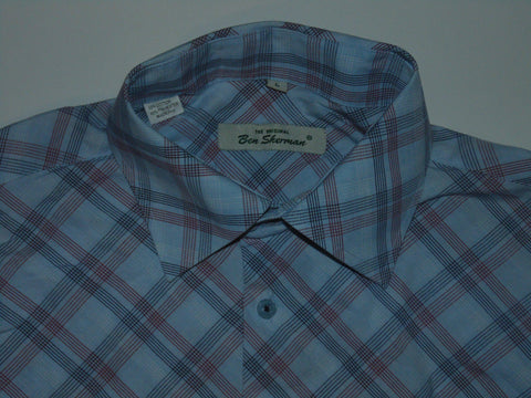 Ben Sherman red & blue checks shirt - Large mens, Size 3 - S5582