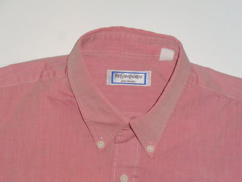 "YSL Yves Saint Laurent pale red shirt - 16"" large mens - S5474"