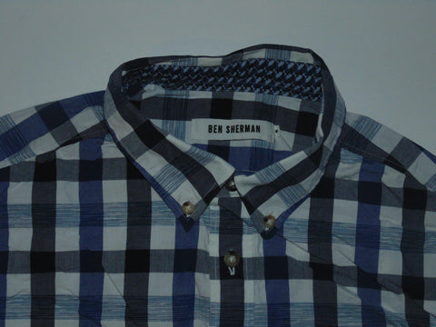 Ben Sherman blue checks shirt - Medium mens Slim fit - S5587-Classic Clothing Crib