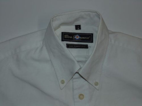 Ben Sherman white short sleeves shirt - medium mens, S400 SLIM FIT - S5010-Classic Clothing Crib